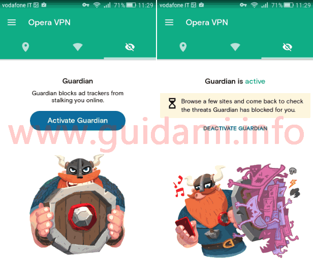 Attivare Guardian Opera VPN per Android
