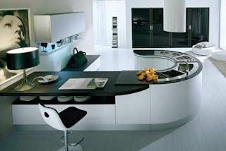 Cocina moderna en blanco y negro