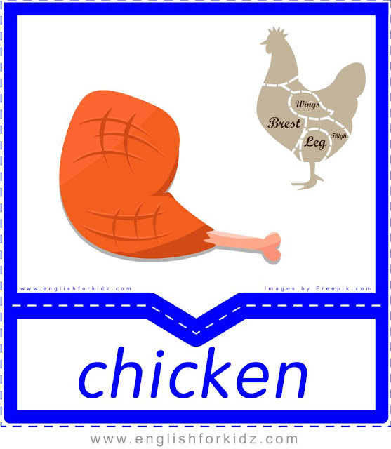 Chicken - English food flashcards for ESL students