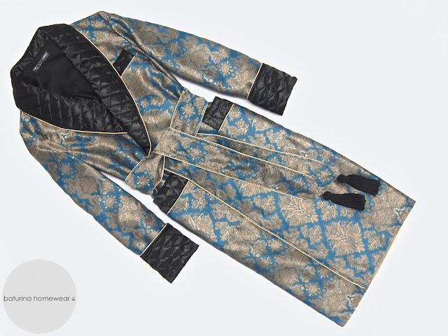 Mens quilted silk dressing gown gentleman vintage paisley luxury robe long warm