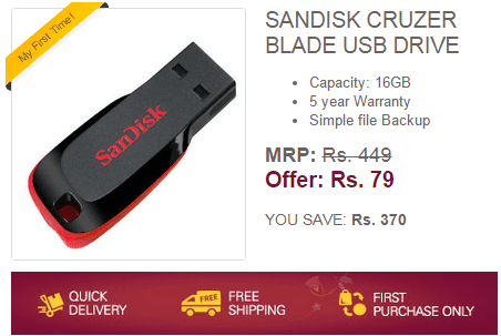 520a35c63f7 (New Link Added) Ebay Loot Offer – Sandisk Cruzer Blade 16GB Pendrive at  Just Rs.79 (New Users)