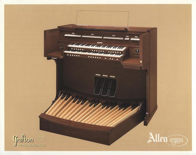 Original Allen brochure front showing MDS-15 organ console