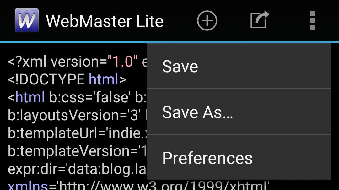 WebMaster's HTML Editor Liteの画面の最上段の五つのスイッチ