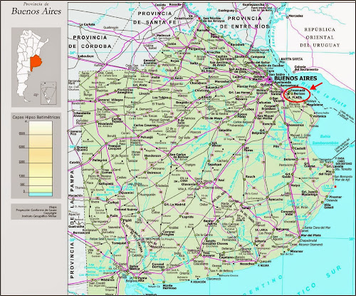 mapa de localização de La Plata - Argentina