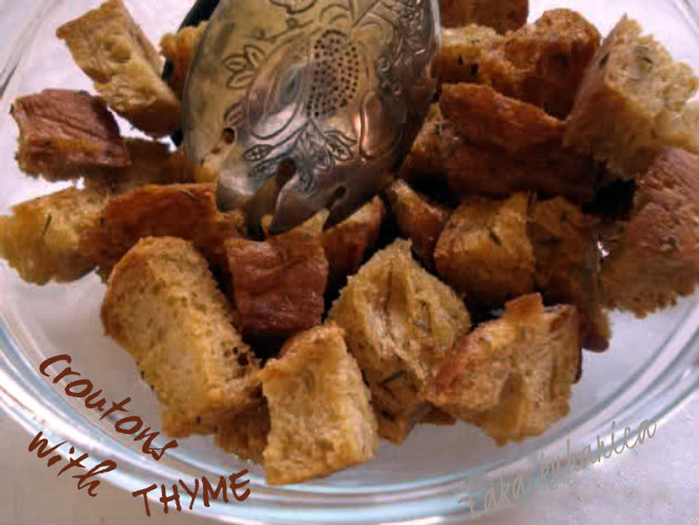 Croutons with thyme by Laka kuharica: easy to make aromatic croutons are a great way to garnish any cream soup.