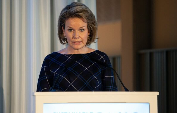 Queen Mathilde wore a new Natan dress and the queen wore a new blu jacket by Natan. United Nations Sustainable Development Goals