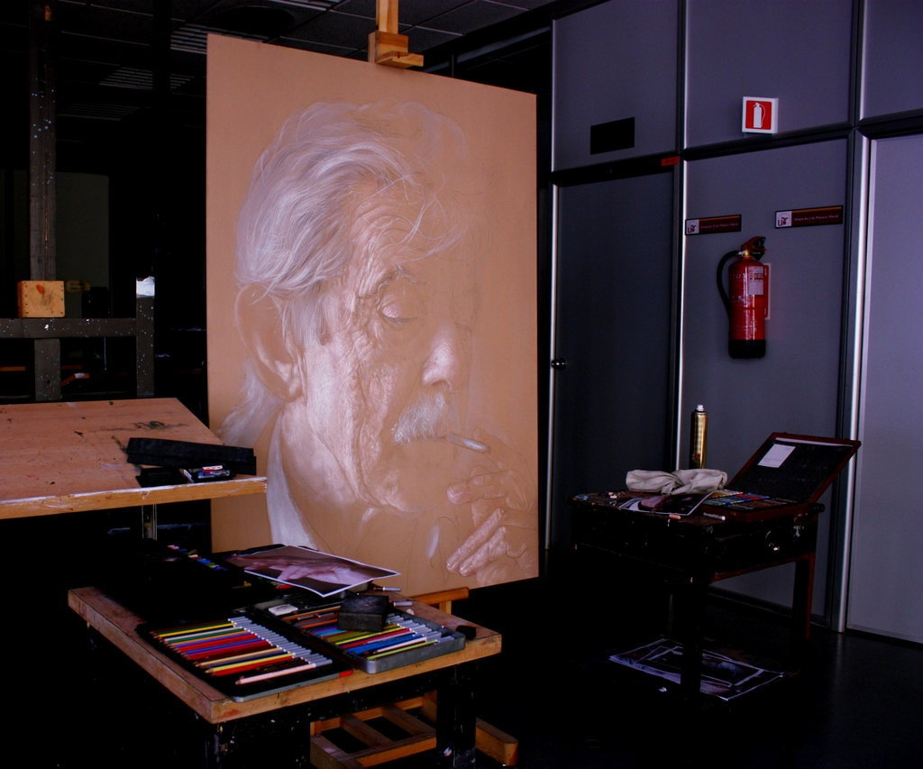 06-In-the-Studio-Drawings of Fictional Characters in Pastel on Wooden Canvas