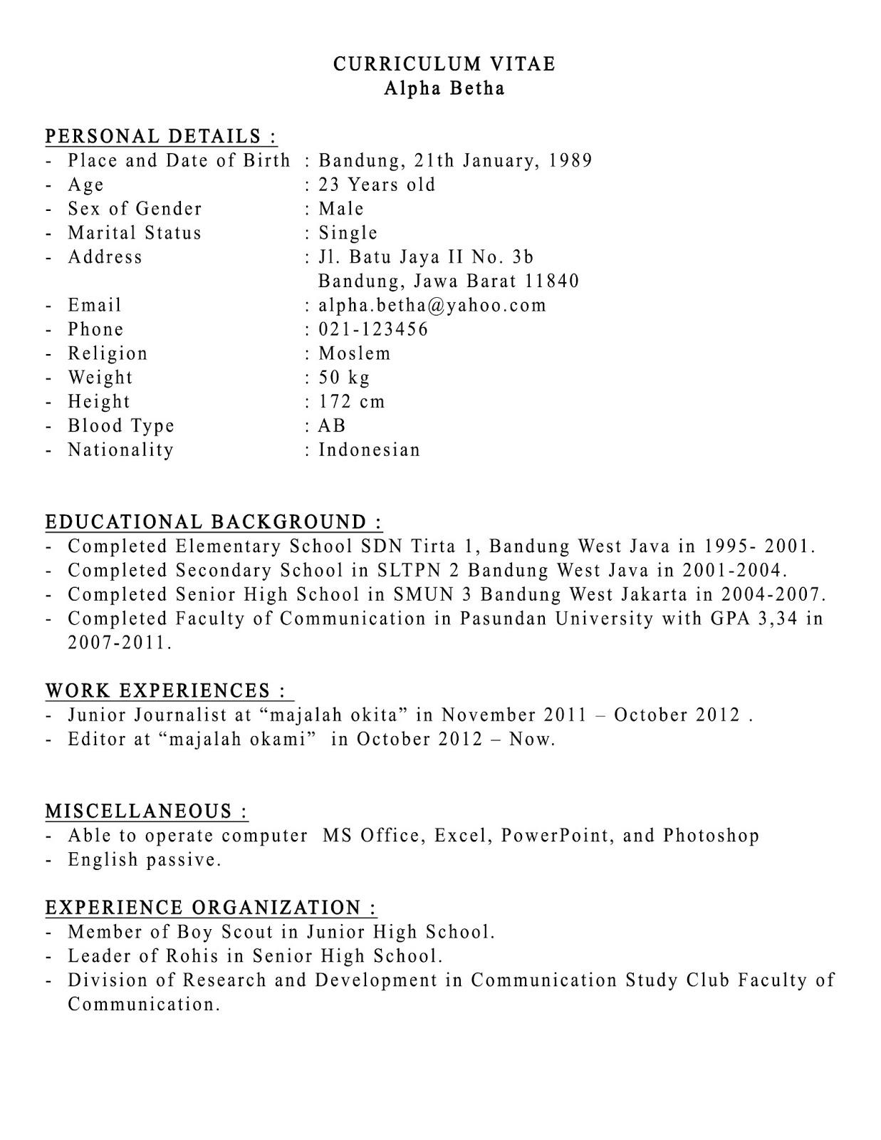 Contoh Curriculum Vitae Cv Dalam Bahasa Indonesia Nemetas