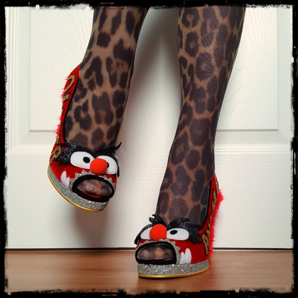 wearing Irregular Choice Muppets red peep toe shoes with glitter platform