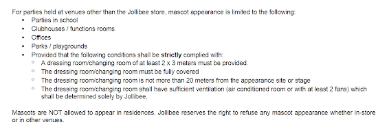 Terms and Conditions for Jollibee party package in school