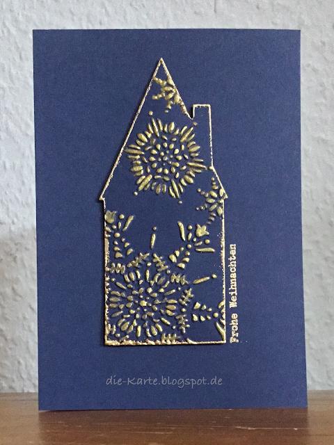 """""""Haus"""" 6300682 Die Eigendesign Steckenpferdchen,  """"Northern Flurry"""" Embossingfolder Stampin' up, """"13 mal Frohe Weihnachten"""" Klartext Stempel"""