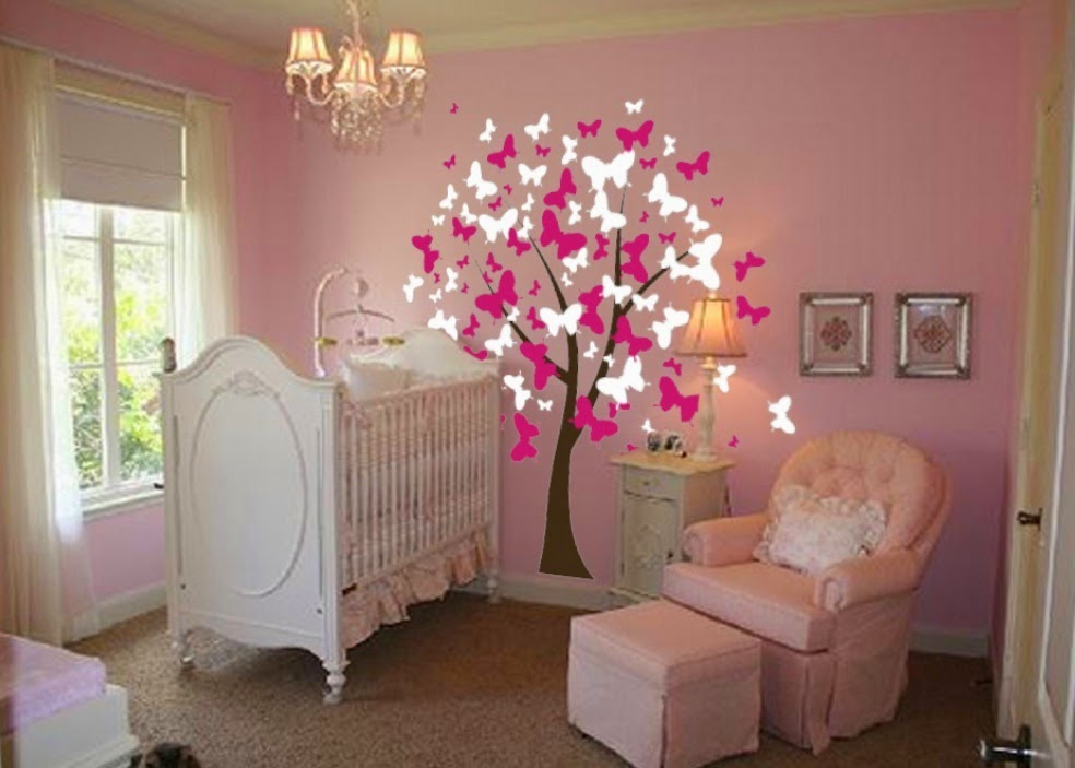 pink Nursery Design with Wall stickers