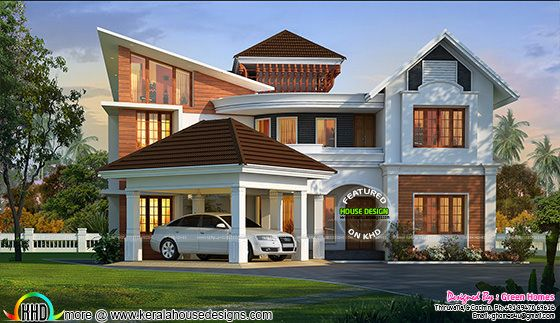 Magnificent mix roof house design