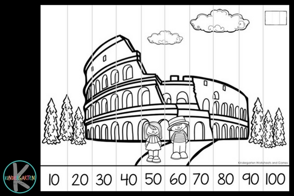 australia, italy, japan, and us famous landmarks math activity in color or black and white
