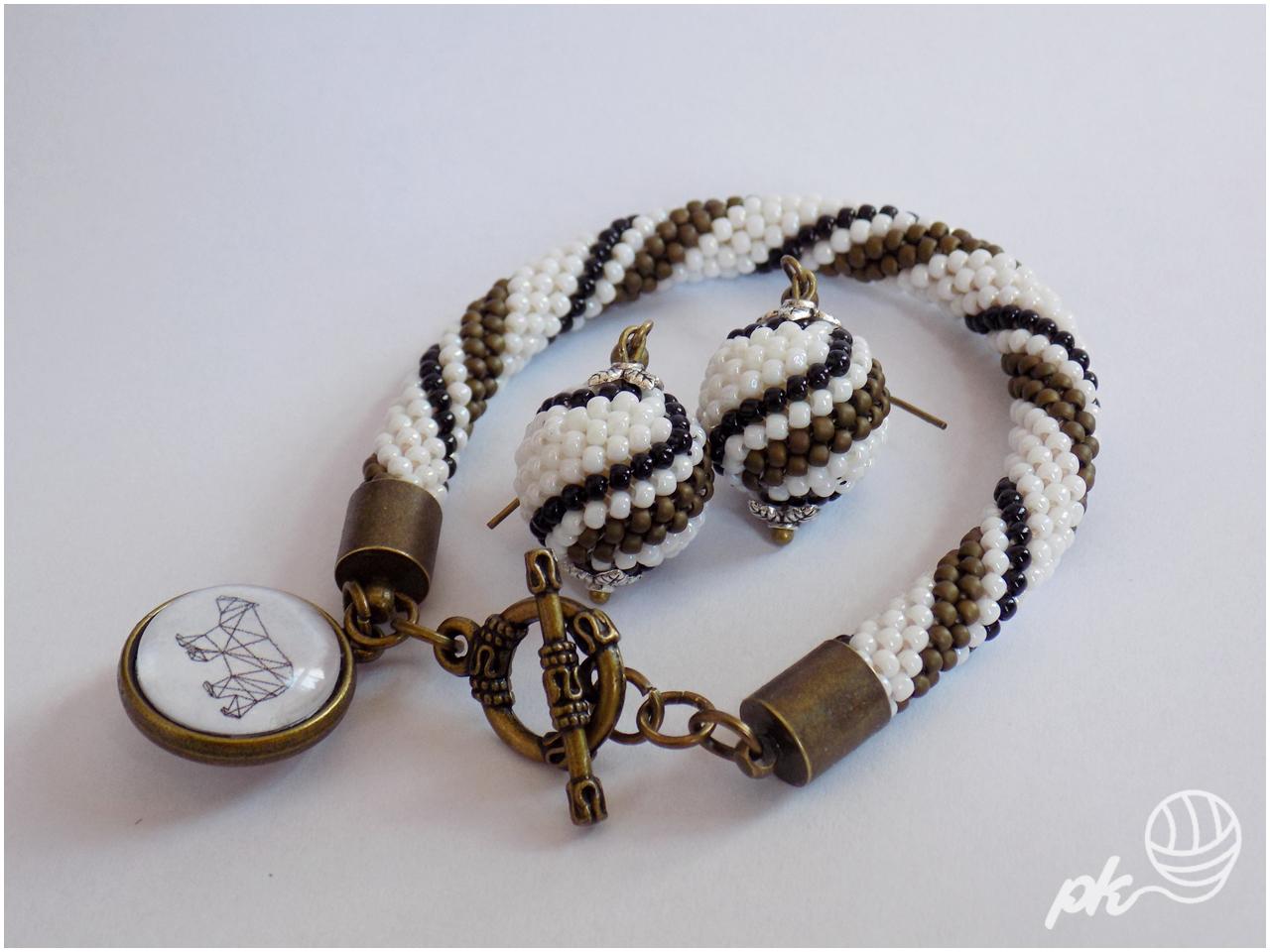 kolczyki, bransoletka, beaded ball, sznur szydełkowo-koralikowy, crochet rope, rękodzieło, handmade, biżuteria