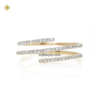 Nhẫn vàng đính kim cương ý tưởng thiết kế vòng xoáy tình yêu
