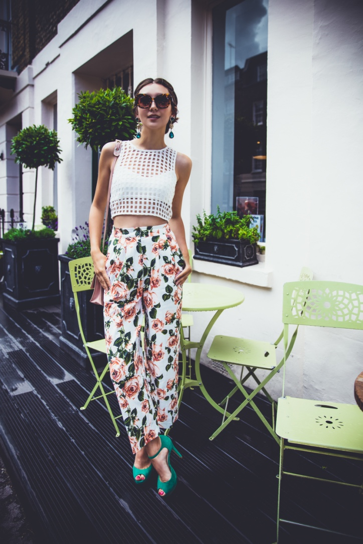 crop top, floral culottes, street style london