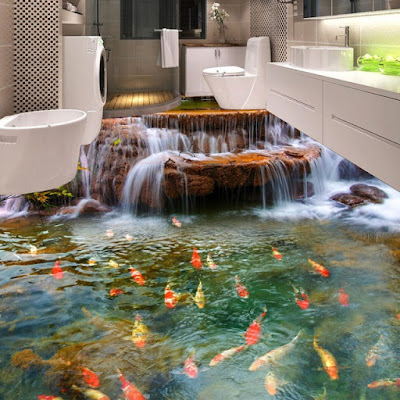 3d bathroom floor murals ideas with koi fish and waterfall over mountain