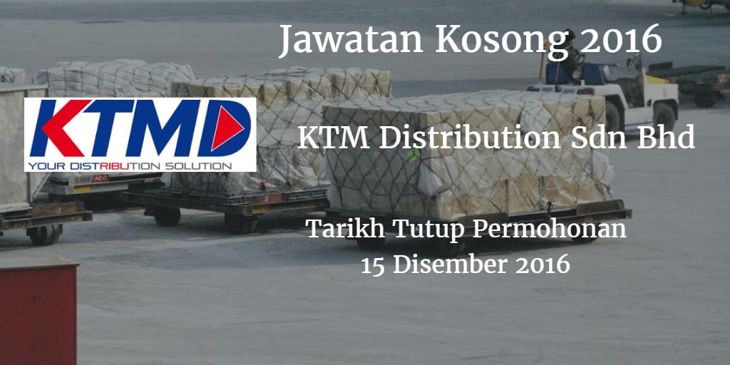 Jawatan Kosong KTM Distribution Sdn Bhd 15 Disember 2016
