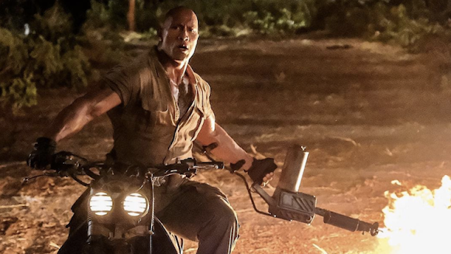 Jumanji Welcome to the Jungle 2017 review Dwayne Johnson Spencer ending fire motorbike