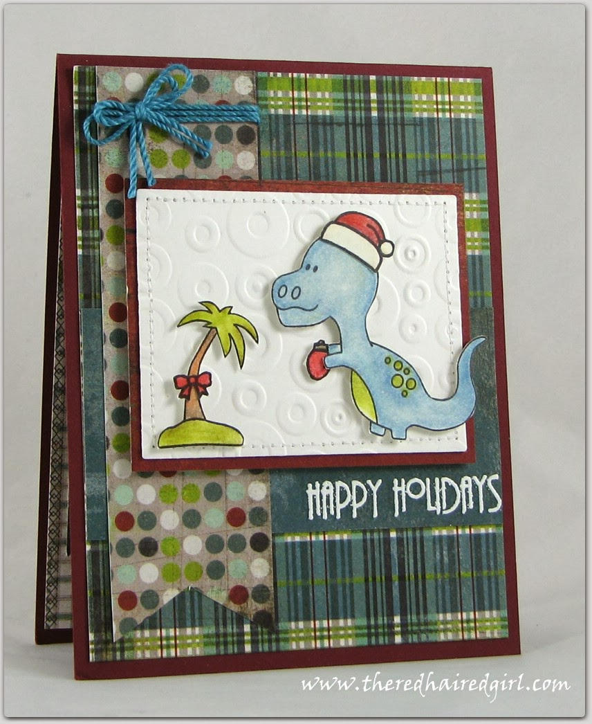 Dinosaur Christmas card by Elena for Newton's Nook Designs Inky Paws Challenge #5