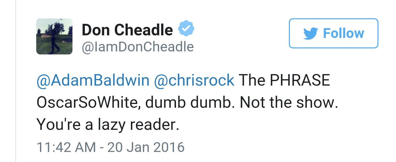 Adam Baldwin and Don Cheadle exchange words