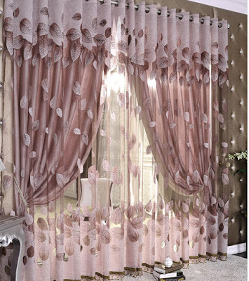 luxury style curtains for double hung windows having net and tulle