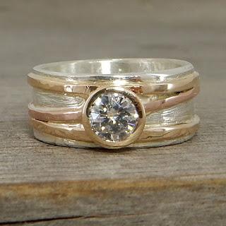 yellow and rose gold engagement ring