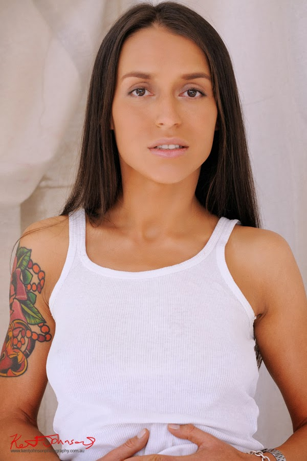 Beauty shot, white singlet and cut-off shorts - Studio Modelling portfolio shoot by Kent Johnson.