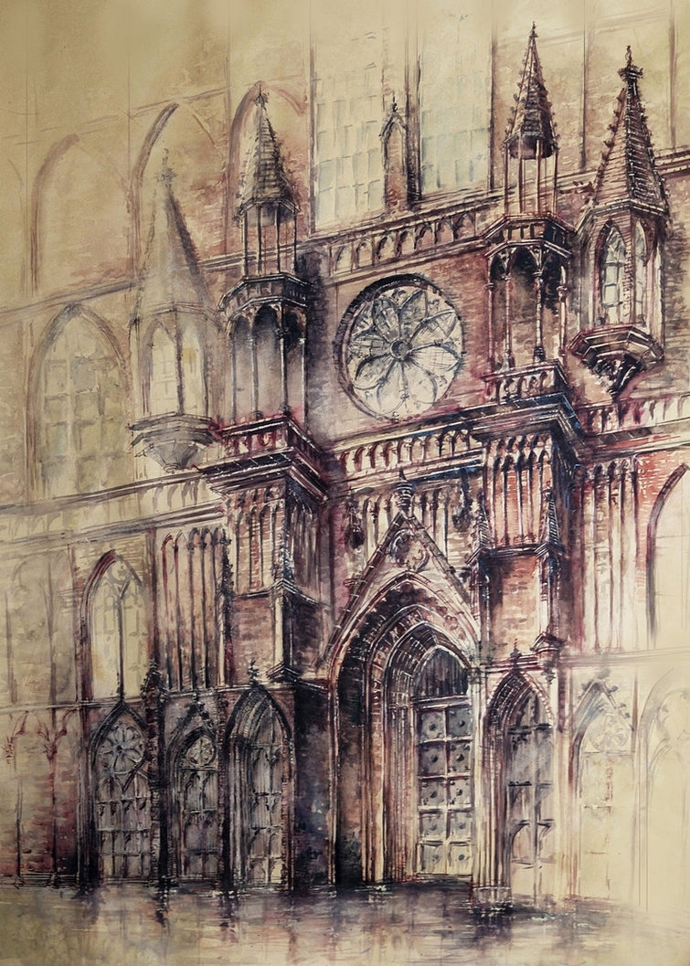04-Gothic-Cathedral-Elwira-Pawlikowska-Gothic-and-Steampunk-style-Architecture-with-Ink-and-Watercolor-Illustrations-www-designstack-co
