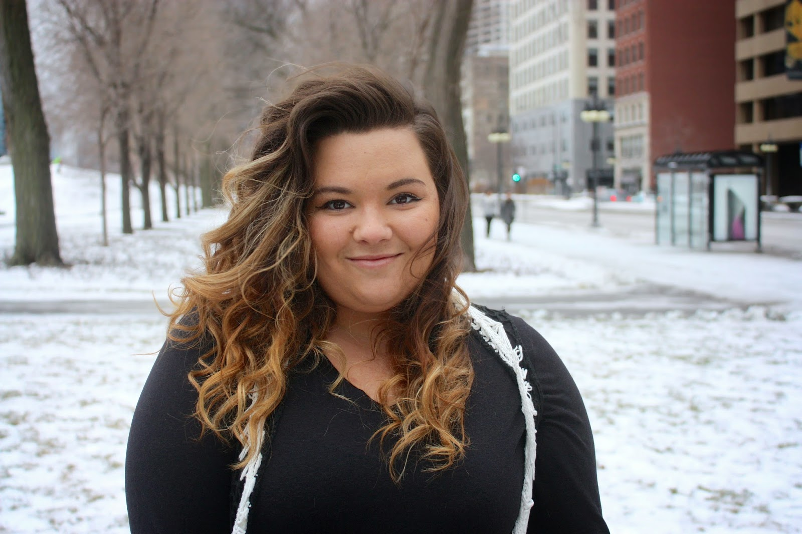 Natalie Craig, Natalie in The City, chicago, ootd, plus size fashion, fashion blogger, crochet vest, winter fashion 2015, mom fashion, curvy women, fatshion, gray jeans, curly ombre hair, thick girls, grant park, ralph lauren, lauren, wide calf boots, how to dress up a long sleeve shirt