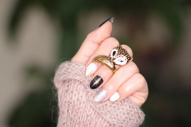 Simply Nails- Biel, Czerń, Złoto i Srebro