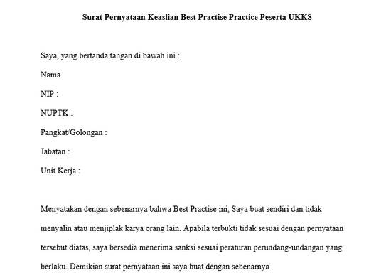 Surat Pernyataan Keaslian Best Practise Practice Peserta UKKS