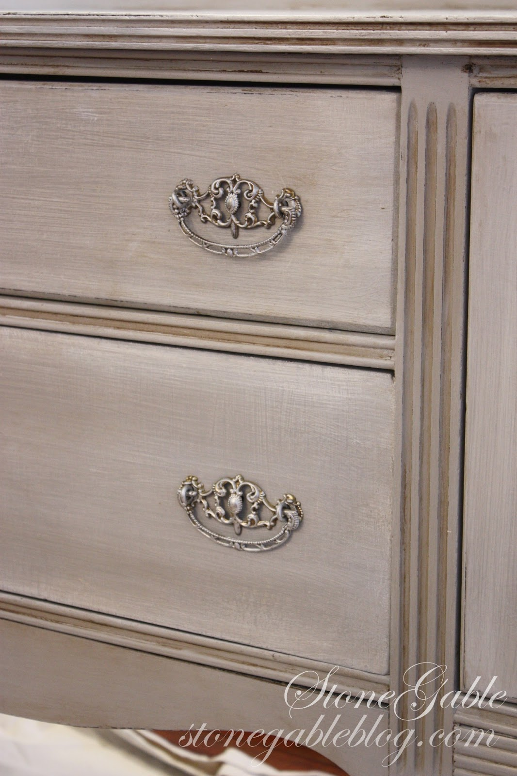 The Base Of Buffet Was Painted With Annie Sloan Chalk Paint In Paris Grey And Gently Antiqued Clear Dark Wax