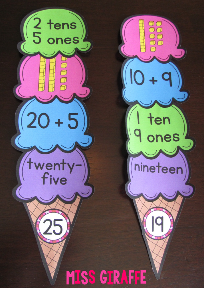 Place value ice cream cones and other great place value centers, activities, and ideas!! Click for more!