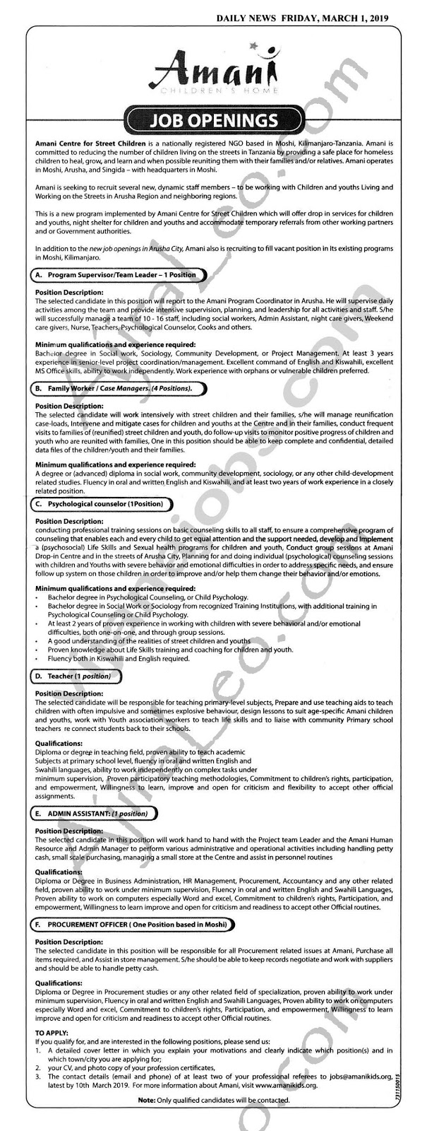 9 New Job Opportunities Moshi and Arusha at AMANI Centre