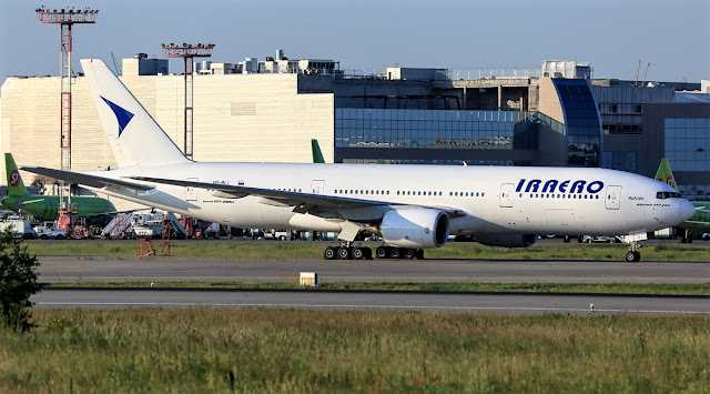 IrAero Boeing 777-200 While Taxiing Runway Clear White Livery