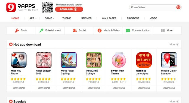Features of 9apps app store