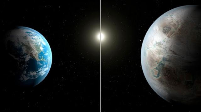 comparação da Terra e do Sol com o planeta Kepler-452b e sua estrela