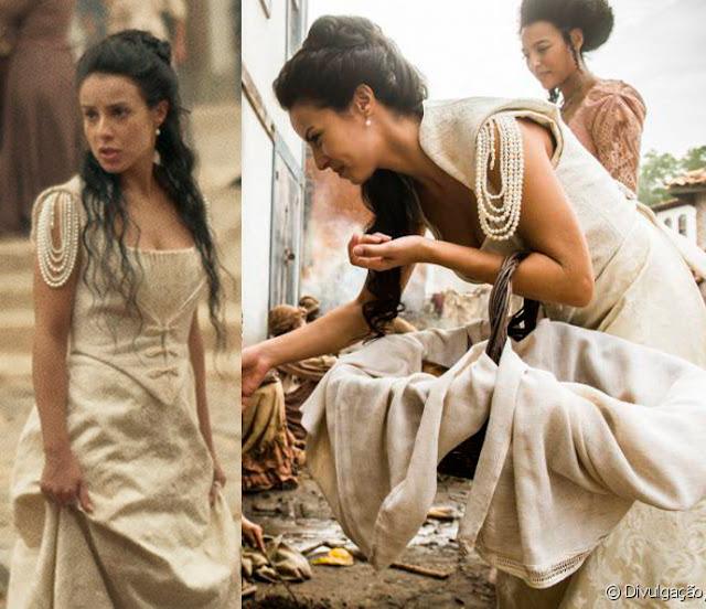 Joaquina/ Rosa (Andrea Horta) Liberde Liberdade, figurino, vestido branco