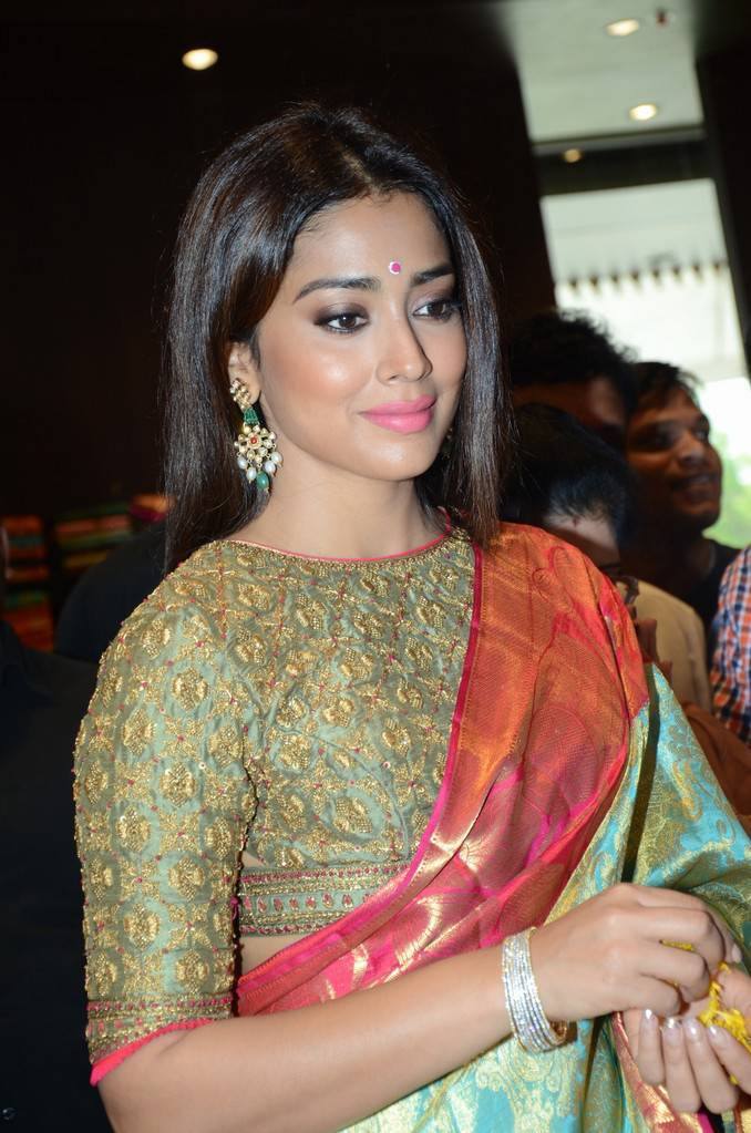 Shriya Saran At VRK Silks Showroom Launch Stills