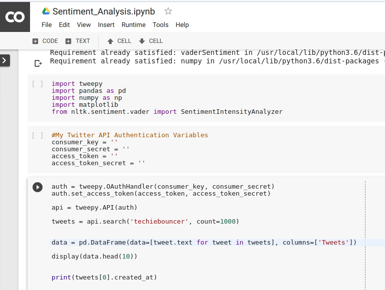 Basic level Twitter Sentiment Analysis using colab,Tweepy