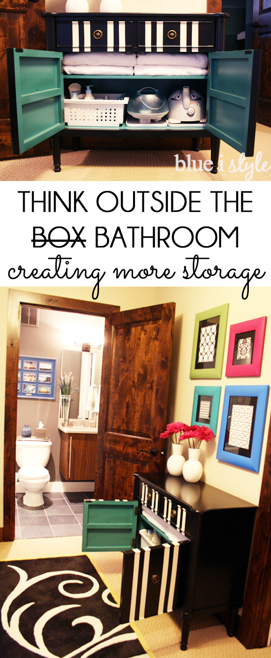 Organize by adding storage outside the bathroom