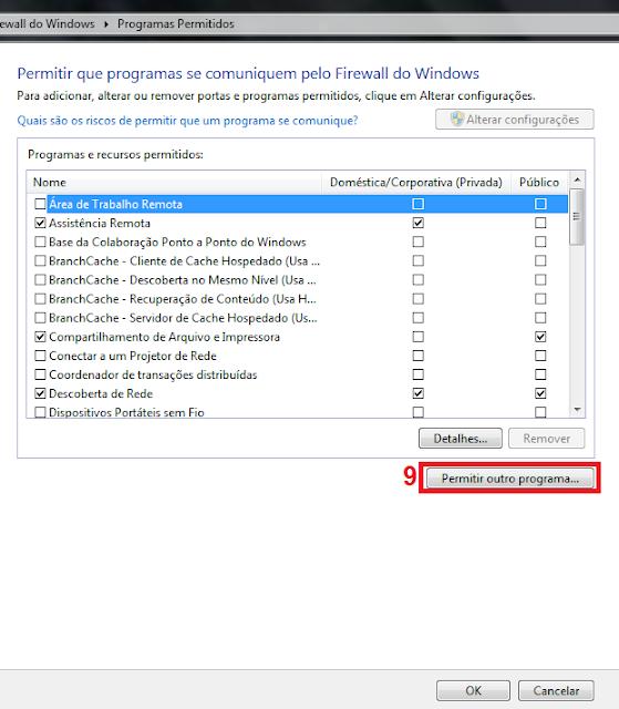 9 - Para achar o programa em que quer adicionar a exceção clique em Permitir outro programa...