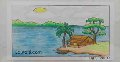 Menggambar pemandangan rumah dan danau