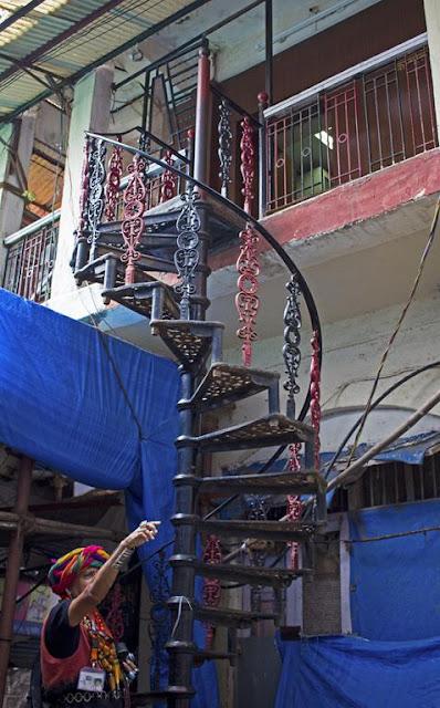 spiral staircase, lalbaug, mumbai, india, street photo,