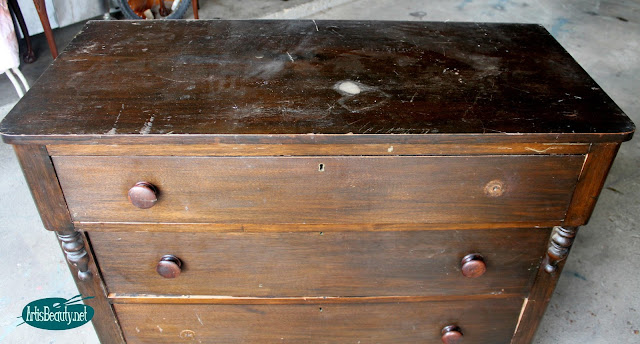 repairing and refinishing and painting a beat up antique vintage dresser to and industrial beauty