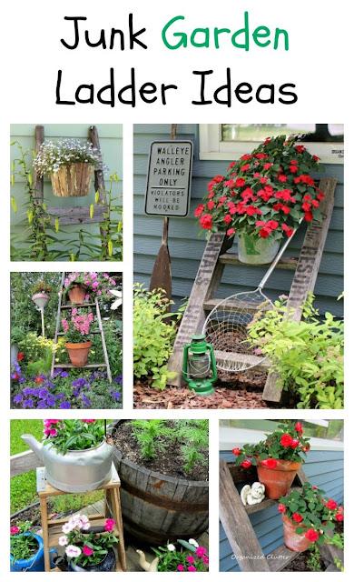 Add A Ladder To Your Flower Garden #junkgarden #gardenjunk #gardenladder #containergarden #rusticgarden