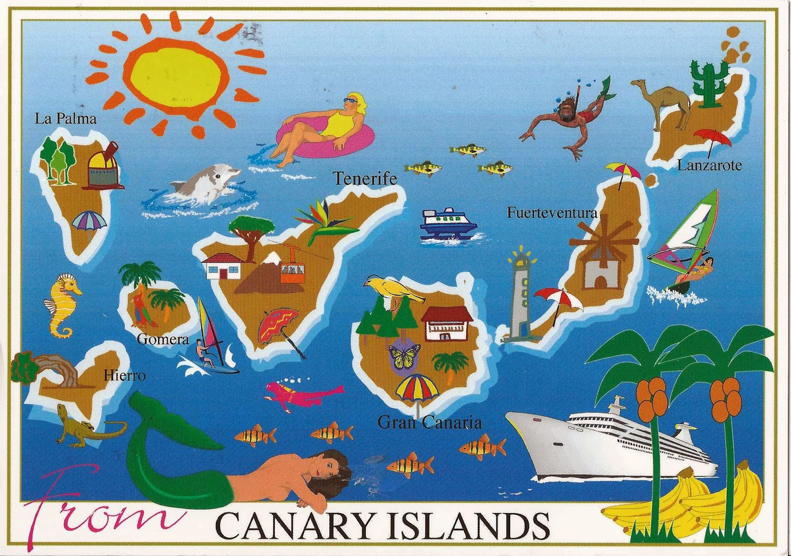 A Journey of Postcards Canary Islands map