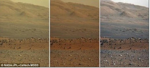 Left version is raw image, the view that has not been processed after received directly from Mars. The middle is an image that will look natural human eye when visiting Mars. Right version shows the result of adding the white color, which interpret the scene as if Mars is seen in the lighting conditions as Earth